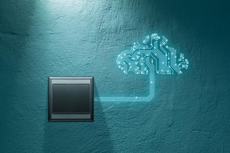 Concept informatique en nuage - connectez des appareils au cloud. Symbole de nuage avec la conception de carte de circuit imprimé (carte de circuit imprimé) représentant le cloud computing et le commutateur de mur qui activent la connexion d'informatique en nuage.