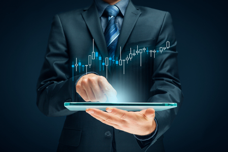 Investor and trader concept - investor with tablet and tradeview graph. Banque d'images