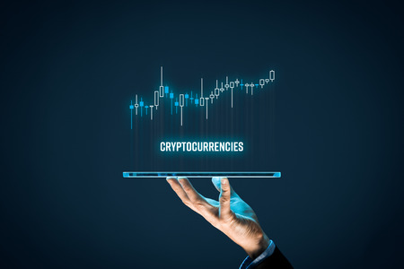 Cryptocurrencies investment concept. Investor with digital tablet and virtual tradeview graph.