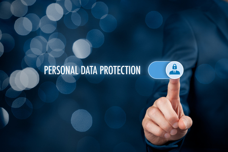 Personal data protection concept. Businessman activate sensitive personal data protection. 스톡 콘텐츠