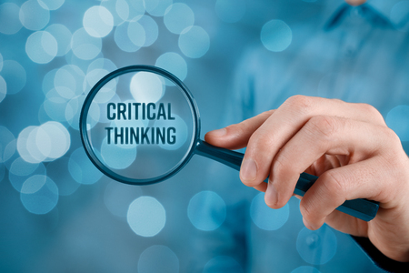Critical thinking concept. Businessman is focused on critical thinking. 版權商用圖片