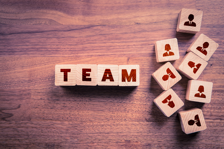 Human resources, team composition, team configuration, teamwork, cooperation and team building concepts. Stock Photo