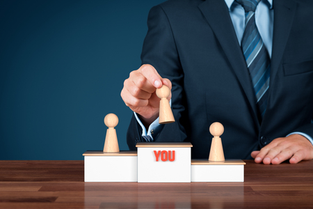 You are the winner - motivational concept. Leadership is motivated to be a winner. Human resources officer or mentor motivate you to be the best. Stock Photo