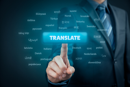 Online translator and language e-learning course concept. Computer user press button with text translate and most important world languages.
