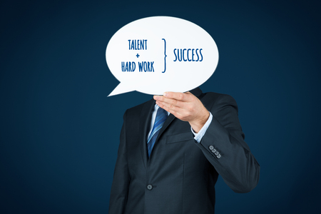 Talent and hard work make success. Businessman or manager motivate to success.