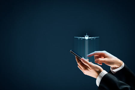 Air ticket booking on smartphone app or online travel insurance concepts. Person with smart phone and symbol of a plane. 版權商用圖片