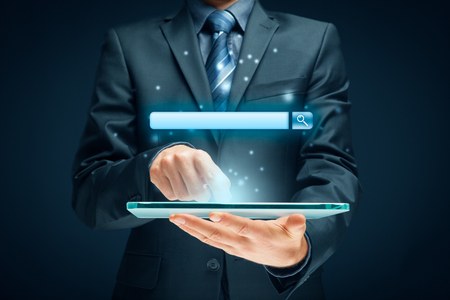 Search, find and SEO internet concepts. Tablet user and web search engine (web browser represented by address line).