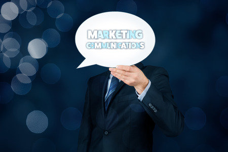 Marketing specialist with marketing communications text on speech bubble. Stock Photo