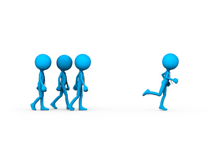Leadership is faster than the others. Visual metaphor and concept of manager leader, 3d illustration.