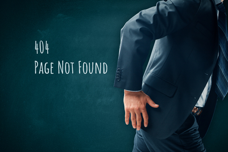 Http 404 error not found page template concept. Error page 404 message and businessperson leaving page. Stock Photo