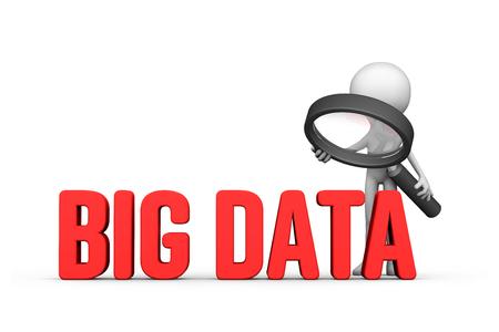 Focused on big data concept, 3d illustration. Cartoon with magnifying glass enlarge words big data. Banco de Imagens