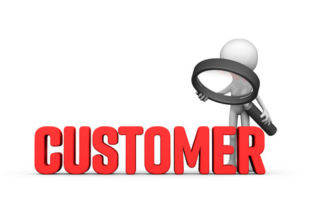 Customer care, and support (help) concept, 3d illustration. Cartoon with magnifying glass enlarge words customer care. Stock Photo