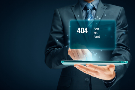 Http 404 error not found page template concept. Error page 404 message and businessperson with digital tablet.