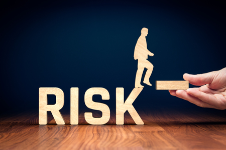 Risk management concept. Risk manager give stability for businessperson which can do step from risky business to stable.