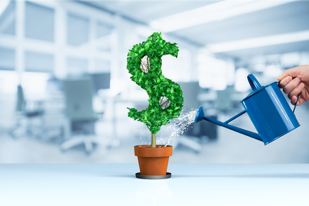 Dollar income growth concept. Income growth represented by plant in shape of dollar symbol watered by CFO, investor, stockholder and similar business person.