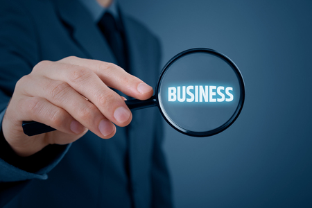 Business analysis concept. Businessman is focused on his business.