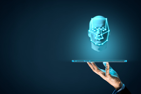 Digital tablet face detection and identification (ID) concept. Facial recognition protection and security.