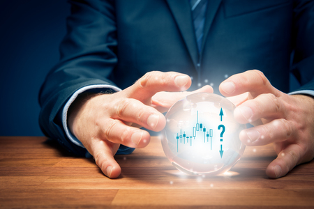 Investment prediction and planning. Look into the crystal ball. Investor visionary with crystal ball, symbol of trade view and question mark.
