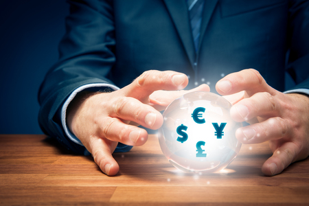 Businessman look into the crystal ball to predict future of exchange rate. Zdjęcie Seryjne