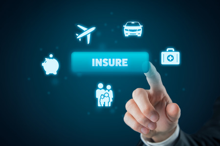On-line insurance concept. Businessman (or insurance agent or client) click on insure button. Insurance icons: car insurance, travel insurance, family and life insurance, financial insurance and health insurance.