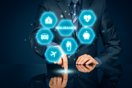 On-line insurance concept. Businessman (or insurance agent or client) click on  button. Insurance icons: real estate insurance, car insurance, travel insurance, family and life insurance, financial insurance and health insurance.