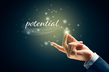 Potential concept - to fulfil potential is easy as snap fingers. Magic of unlock personal or business potential concept.