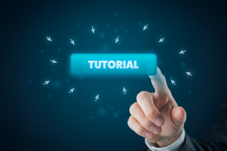 Internet tutorial concept. Man click on button with text tutorial.