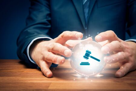 Lawyer or advocate predict result of a court decision - concept with crystal ball. Law represented by judges hammer.
