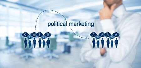 Political marketing impact and populism threat concept. Political marketing is the way how to change thinking of the public. Marketing guru think how to change public opinion. Zdjęcie Seryjne