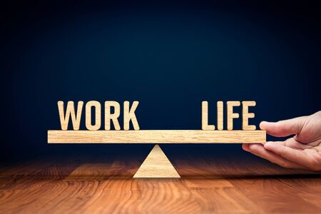 Work life (work-life) balance concept. Helping hand of personal coach helps with work and life balance.