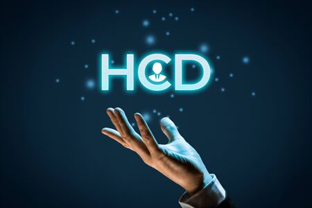 Human Centered Design (HCD) concept. Designer or marketing specialist give you HCD solution. Zdjęcie Seryjne