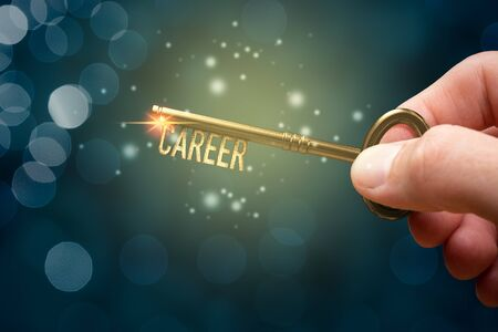 Key to unlock and open new career concept. Human resources and you has a key to your career.