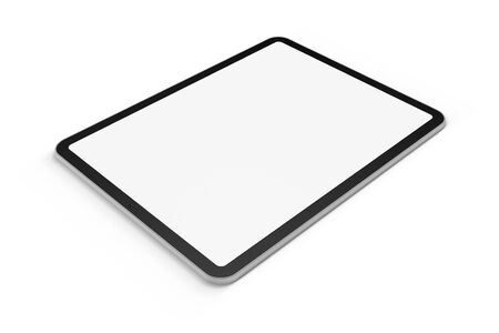 Digital tablet graphics element on white background with display mask, 3D render.