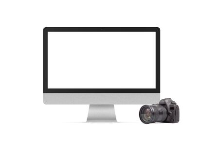 Modern computer and DSLR photo camera on white background. Universal graphics element for photographers propagation and designs. 스톡 콘텐츠