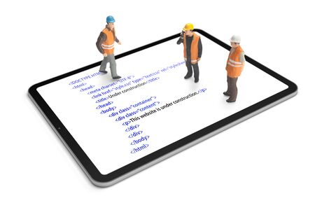 HTML website code (internet page) under construction on digital tablet. Construction worker figurines working on code.