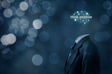 Coach motivate to think positive concept. Businessman, plus signs in shape of brain and text think positive.