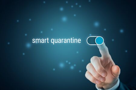 Turn on smart quarantine monitoring system concept. Turn on notifications about risk of come into contact with the infected person.