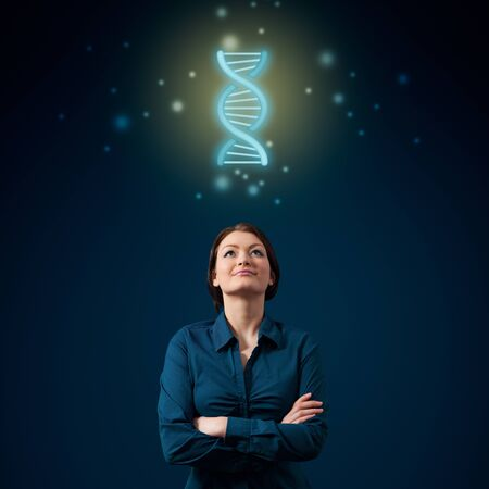 Young woman scientist think about DNA. Female genetic engineer scientist concept.