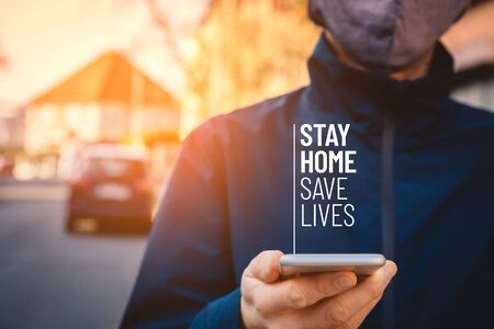 Stay home save lives quarantine motivation concept. Quarantine reduce contact with potentially infected person in times of epidemic.