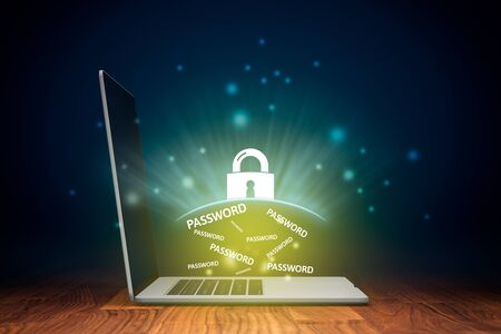 Notebook password protection by antivirus and cyber security concept. Notebook and graphics symbolizing protected passwords on computer. Stock Photo