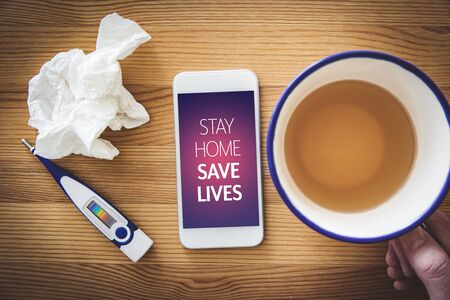 Stay home save lives quarantine motivation concept. Quarantine (isolation) reduce contact with potentially infected person in times of epidemic.