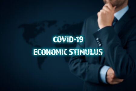 Government economic stimulus after covid-19 concept. Secretary of the treasury (politician) think about economic stimulus for national economy in post-covid-19 era. Monetary and fiscal policy.