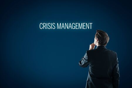 Crisis management concept. Crisis manager think how to manage company in crisis times.