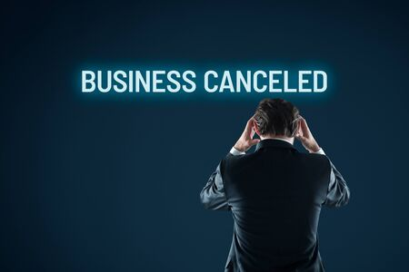 Business canceled bankruptcy concept. Dejected businessman because of his canceled business. Stock Photo