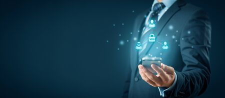 Computer and smart phone users connected via virtual private network. Private network security concept.