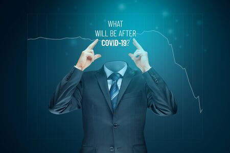 Don't lose your head in post covid era concept. Politician, investor or businessman think about impact of covid-19 and ask what will be after covid-19. Stock Photo