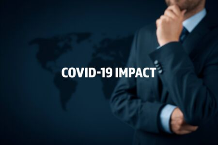 Covid-19 impact in post covid era to global business. Politician, investor or businessman think about impact of covid-19 pandemic to global economy concept. Stockfoto