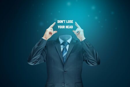 Think positive and don't lose head motivation concept. Coach motivate to think positive and be concentrated to find solution in bad and crisis times. Stock Photo