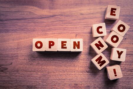 Open economy - shop, store, mall, factories, services and similar after end of covid-19 restrictions and quarantine concept.