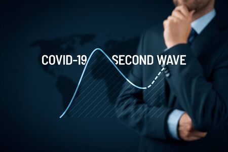 Manager think how to prepare for a second wave of covid-19 concept. Post-covid-19 era in business and investment concept. Stock Photo
